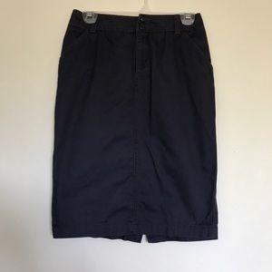 Anthropologie Maeve Blue Cotton Pencil Skirt 0